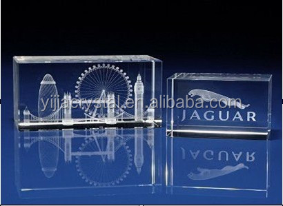 2d/3d K9 Crystal Glass Cube with LED Light Base