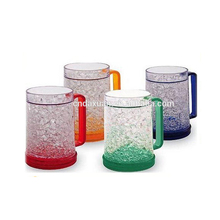 Manufacture Bpa Free Hot Selling Summer Double Wall Frosty Gel Plastic Freezer Frosted Beer Mug With Handle