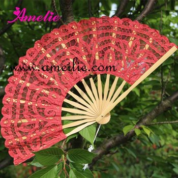 27cm Red wedding lace fan