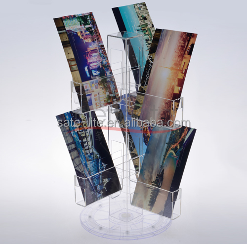 Counter Top Acrylic Post Card Holder Display Stand with Rotating and Revolving