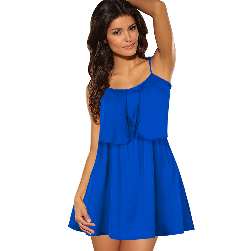 Summer style women dress chiffon sleeveless short mini royal blue casual party beach sexy imported clothing plus size 2015 cheap