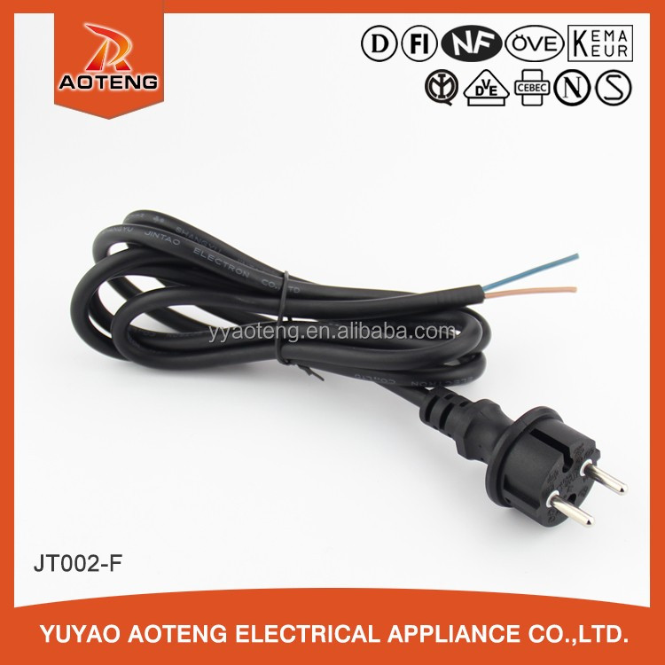 vde rubber black or white power cord with 2 pin or 3pin waterproof plug with H05RN-F or H05RR-F 3X0.75/1.0MM2