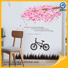 Eco-Friendly Large Size PVC Pink Tree Decorative Wall Stickers Living Room Murals Vinyl Decals