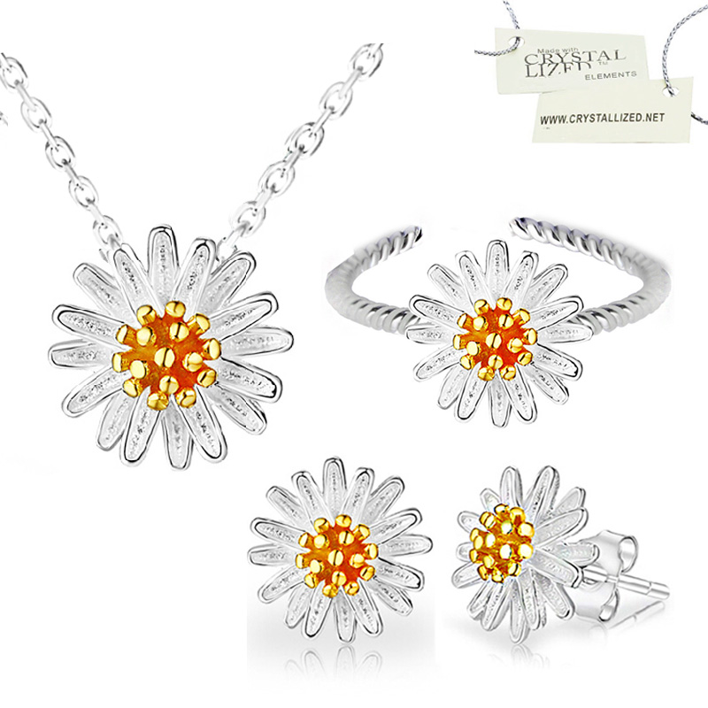 mother chrysanthemum daisy flower wedding party bridal 925 stamp sterling silver jewelry sets women necklace earrings set 171