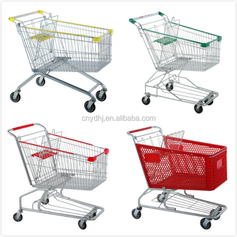Wheeled Metal Material Supermarket Rolling Shopping Carts Trolley