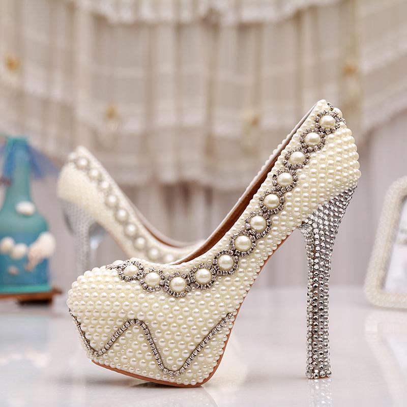 5 Inches White Pearl Wedding Shoes Rhinestone Bridal High Heels Sexy Prom Pumps Ivory Bridesmaid