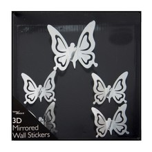 5 Pcs Butterfly DIY Acrylic Mirror Surface Crystal Wall Stickers 3D Home Decal Living Room Murals Wall Paper Decor Gift