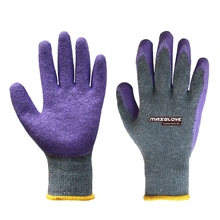 Work construction gloves latex coated