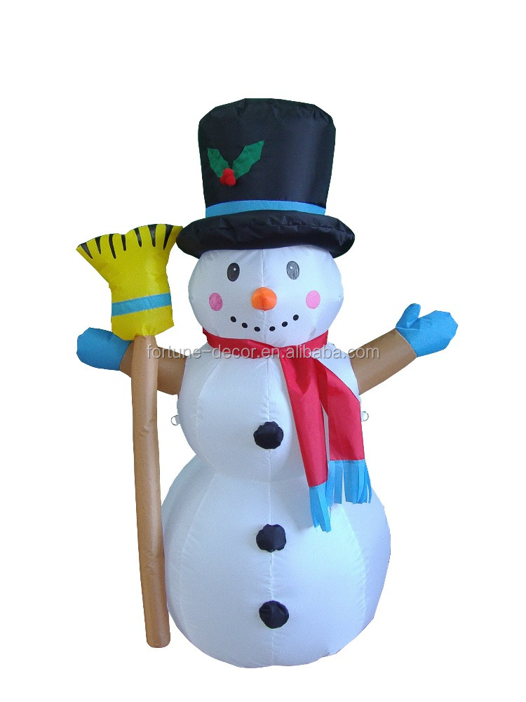 New Products 120cm/4ft Inflatable snowman with a besom in hand and Flashing light