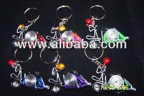 Manufacturer and distributor of handmade wire forms keychain Vespa Assorted colors