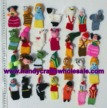 Finger Doll Puppet Alpaca Wool Original Colorful Patterns Nice Design Figures Animals, Animated Characters Baby Hand Toy