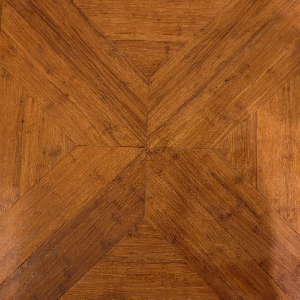 Carbonized strand woven bamboo block flooring