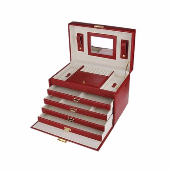 luxury jewelry box custom long handmade luxury large house desktop red leather necklace  gift boxvintage style jewelry box