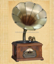 Promotional vintage phonograph wooden mini gramophone with brass horn