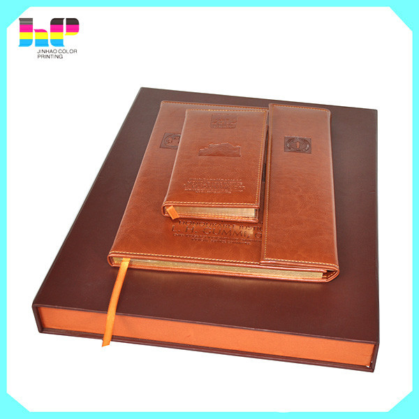 PU Laether cover book inside cheap printing hard case notebook in China