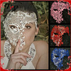 Lady Phantom Rhinestones Venetian Laser Cut Half Face Metal Party Mask