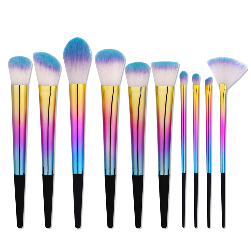 Professional Luxury cone shape combination mkeup brush set with beautiful colour <strong>handle</strong>
