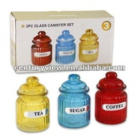 colored glass tea sugar coffee canisters with glass lids