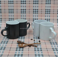 Black and white match for couple and lover ceramic mug with irregular shape,Valentine's day gift with half cup