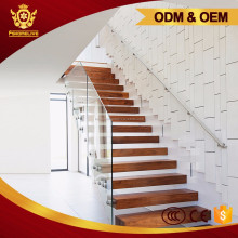 Custom Modern Wooden Tread Straight Staircase Glass Plate Steel Stairs
