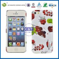 C&T Lovely cherry printing for iphone5 case with apple hole