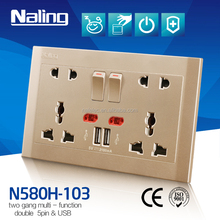 13A electric 2 pin and multi 3 pin twin socket with USB outlet
