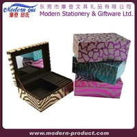 Cheap Custom Standing Leather Velvet Mirror Crystal Jewelry Box
