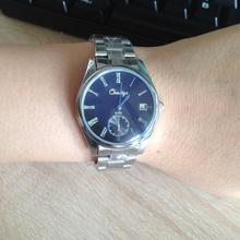 quality blue glass stainless steel band watch men or women accesories