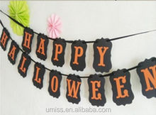Umiss Happy Halloween Banner bunting Party Decorations Orange Black Spooky Horror Sign Props