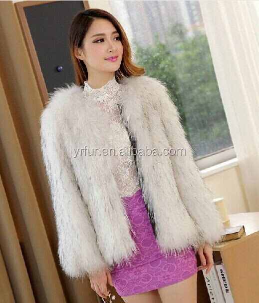 YR753 Genuine high quality knitted raccoon fur coat/women winter clothes