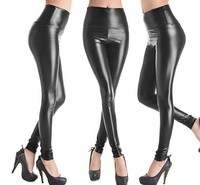 2016 New Fashion Design Brand Name Leggings Sexy High Waist Black Imitation Leather Pants