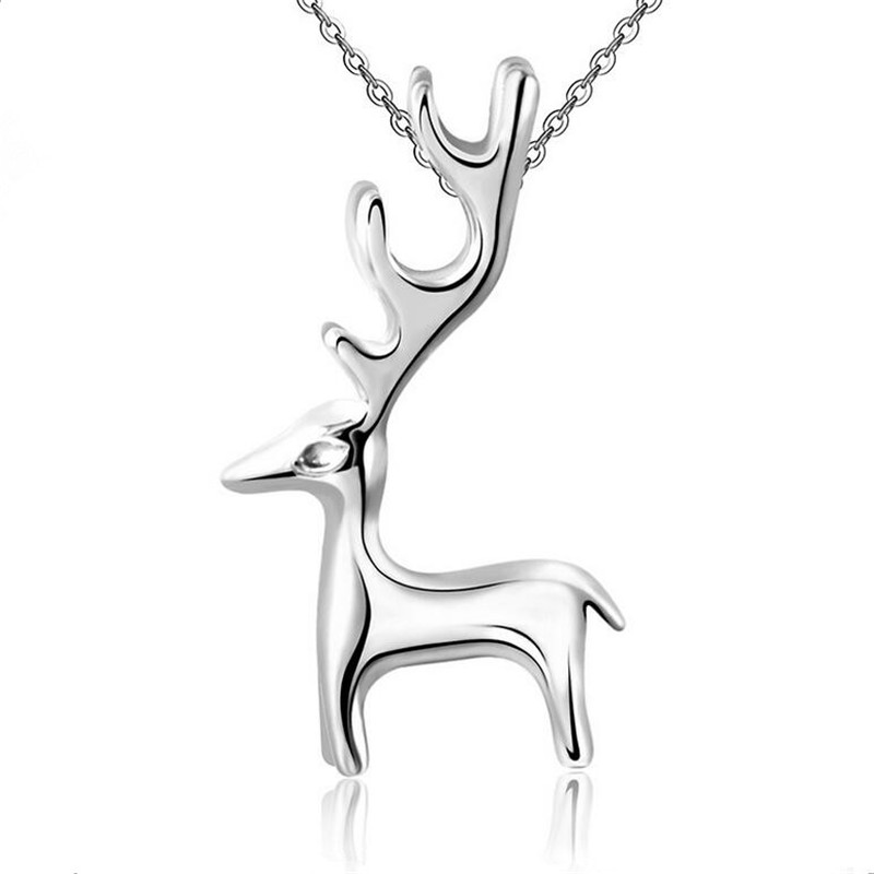 2016 Cute Elk Milu Deer Shape Jewelry New Kids 925 Sterling Silver Necklaces AN3620S