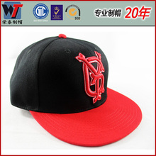 Customize red blank hip-hop cap 5 panels 3D embroidery snapback hats