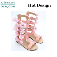 J-S0292 Fashion Bow Children Sandals Shiny Glitter Material Soft Insole Pink Kids Gladiator Sandal