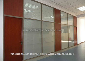 Double glazing Aluminium Frame Partition with Manual Blind