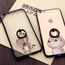 Hot sale animal cartoon clear pc phone case with rotating ring stand