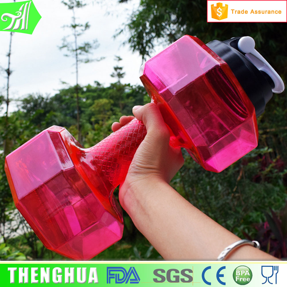2.2L Pet Material New Design Wide Mouth Shaker Cap Dumbbell Bottle