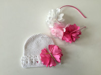 crochet baby cotton hat with decoration flowers and flower baby headband