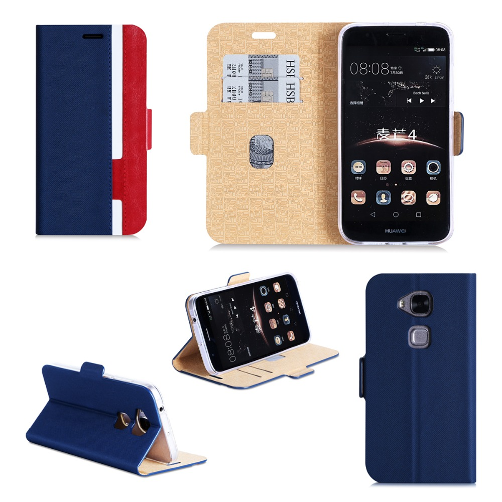 Customize PU+TPU Mobile Phone Cover Shockproof Flip PU Leather Mobile Phone Case With Card Holders For Huawei P8