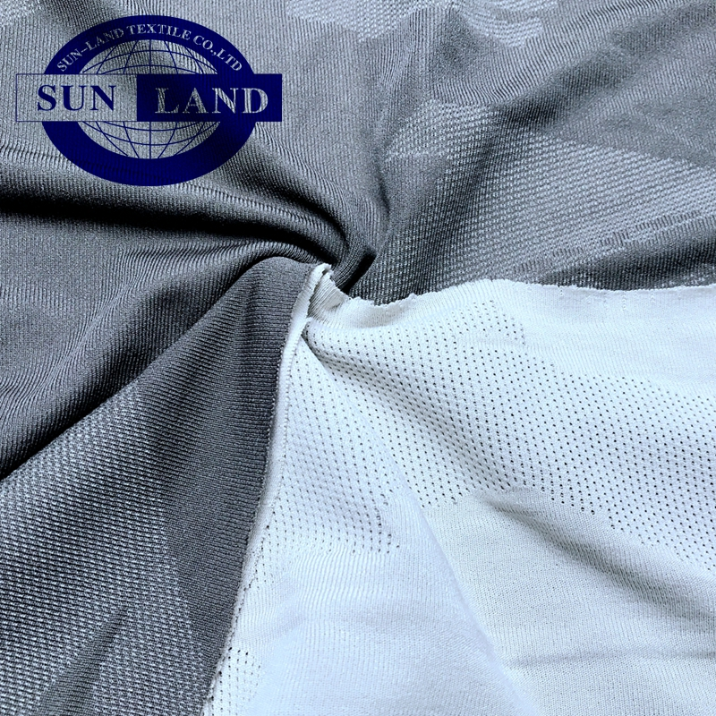 fashion custom color dyed polyester jacquard knit sports spandex mesh fabric