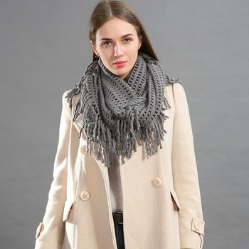 Hot sale pure solid color wool knitting long tassel warm infinity scarf