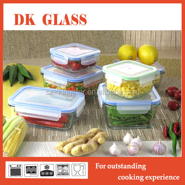 Large capacity borosilicate glass container /ovenable galss boxes for microwave