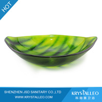 Eco-friendly Leaf Shape Glass Bathroom Basin