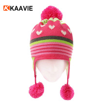 Custom baby kids girl winter ear muff lovely pom pom knitted beanie hat with braids