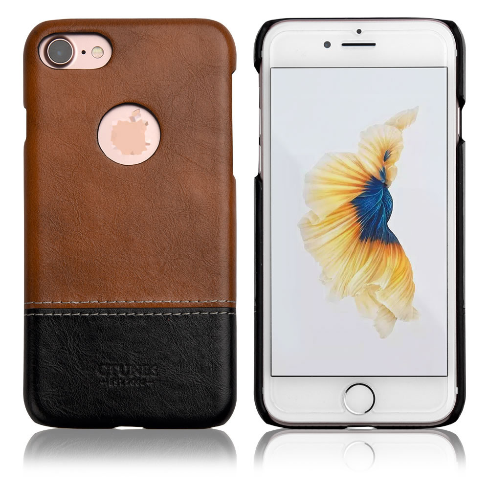 C&T Premium PU Leather PC Slim Cover Back Hard Case for iPhone 7 Plus