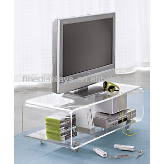 Acrylic Clear Coffee Media Console Table with Wheel (HF-041)