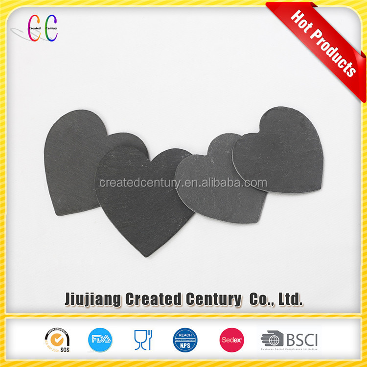 Wholesale handmade heart shaped slate stone coaster
