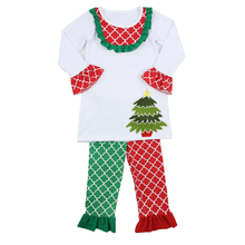 Hot Selling Clover Red and Green Baby Christening Decorative Cute baby Christmas Outfits