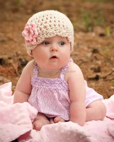 Custom winter cotton crochet handmade knitted beanie hat with adorable satin butterfly for baby and kids