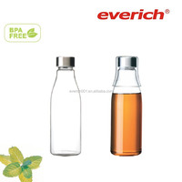 600ml hand-made heat resistant glass water bottle with a small cup